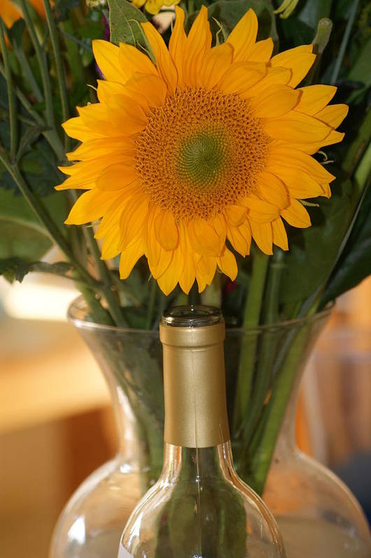 Sunflower Art Print featuring the photograph Sunflower In A Bottle Or Is It Vase. by Liz Vernand