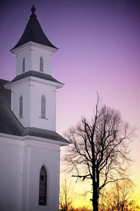 Church Art Print featuring the photograph Sunset by Sean DuBois
