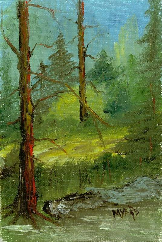 Trees Art Print featuring the painting Sunshine Amidst The Trees By The Stream by Rhonda Myers