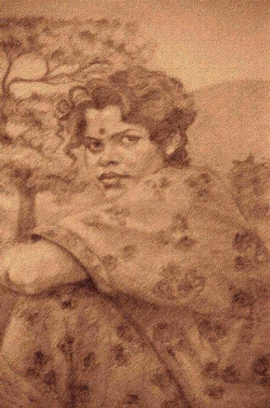 Portrait Art Print featuring the drawing Sushila by Claudio Fiori