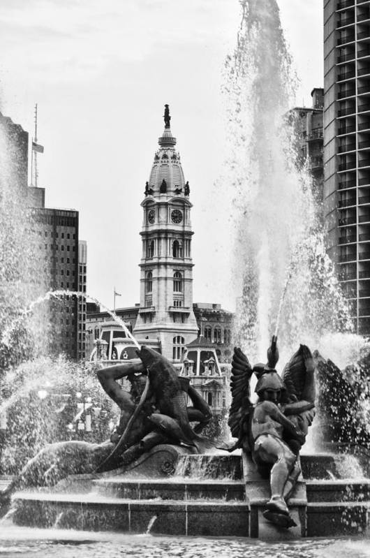 Fountain Print featuring the photograph Swann Memorial Fountain In Black And White by Bill Cannon