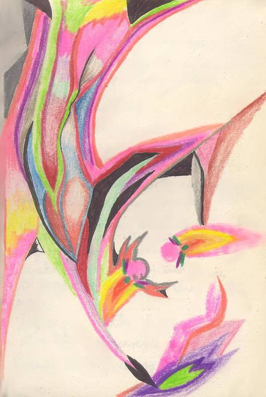 Abstract Art Print featuring the drawing Sweet Spring by Peter Shor