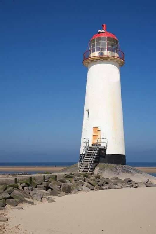 Lighthouse Art Print featuring the photograph Talacre Lighthouse And Beach. by Christopher Rowlands