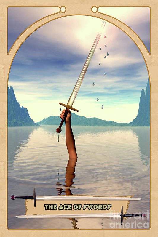 Magic Art Print featuring the digital art The Ace Of Swords by John Edwards