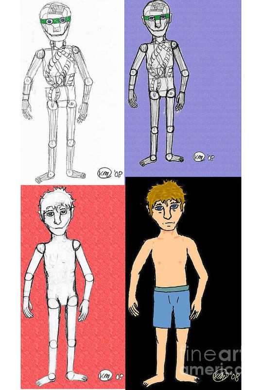 Transformation Art Print featuring the digital art The Android- The Transformation by Karli Martin