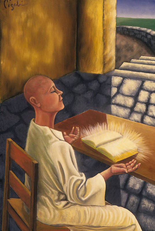 Figurative Art Print featuring the painting The Book Of Knowledge by Gloria Cigolini-DePietro