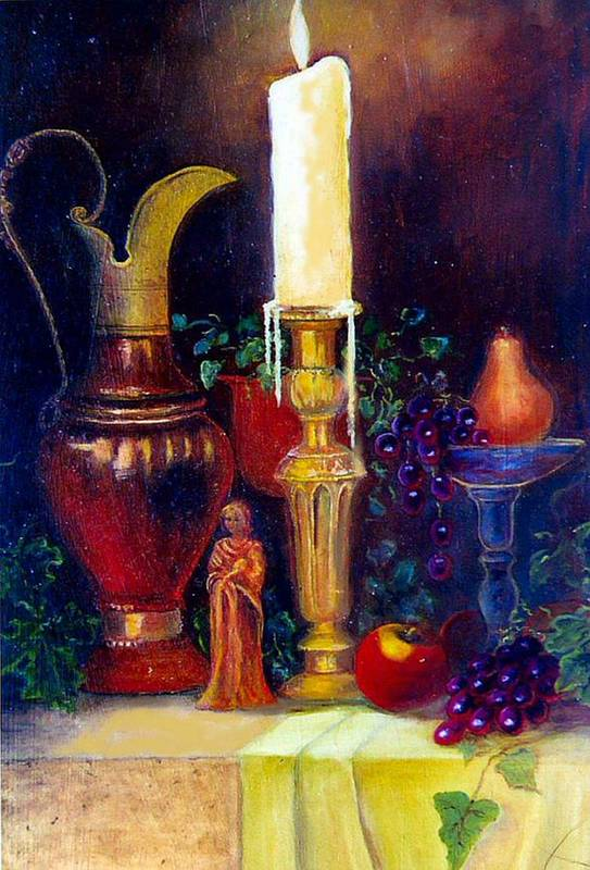 Still Life Art Print featuring the painting The Candlestick And Pitcher by Jeanene Stein