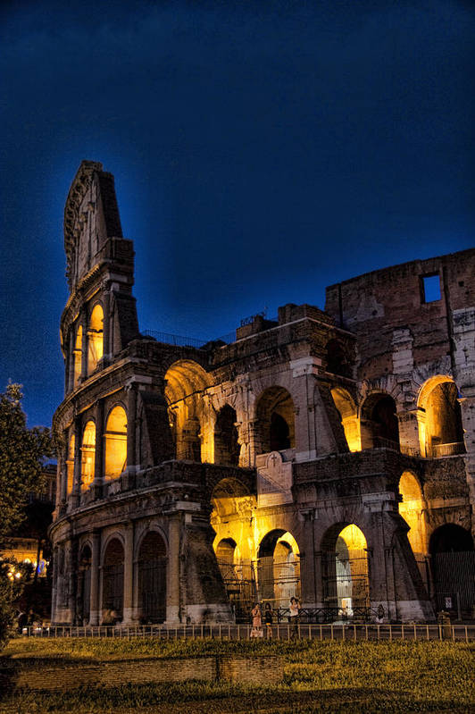 Coleseum Print featuring the photograph The Coleseum In Rome At Night by David Smith