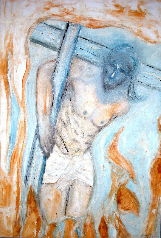 Cross Art Print featuring the painting The Cross by Narayanan Ramachandran