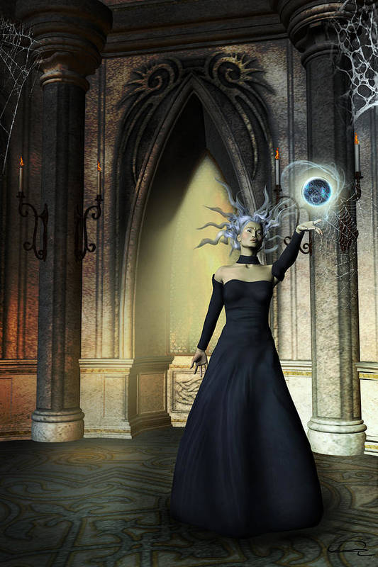 Sorceress Art Print featuring the painting The Curse Of The Sorceress by Emma Alvarez