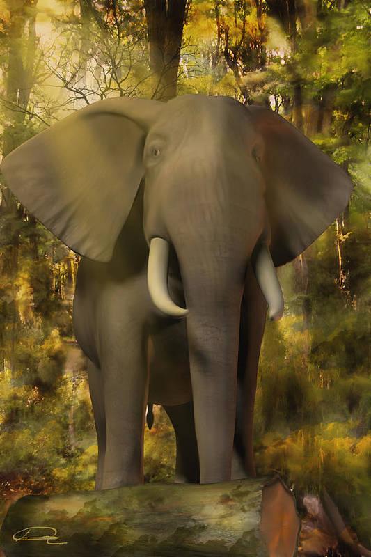 Animal Art Print featuring the painting The Elephant by Emma Alvarez