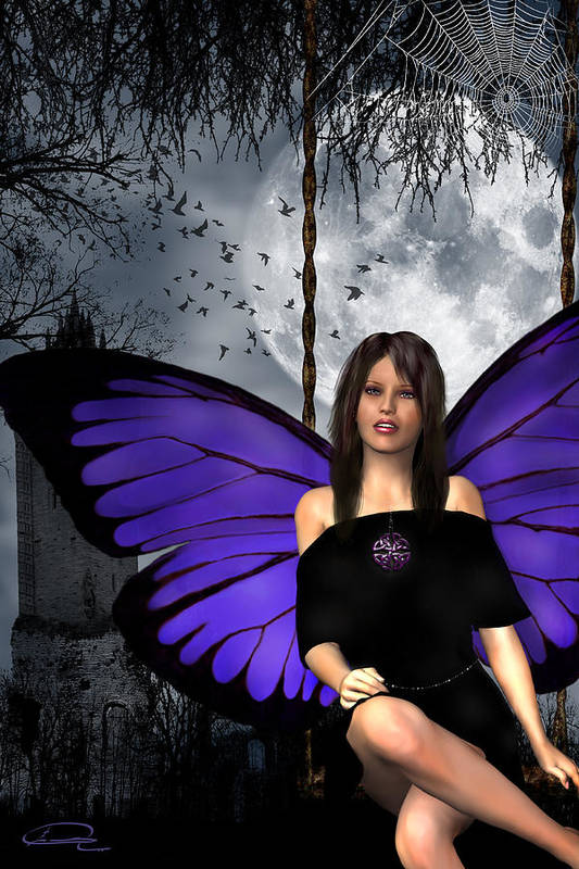 Gothic Art Print featuring the digital art The Gothic Fae Lady by Emma Alvarez