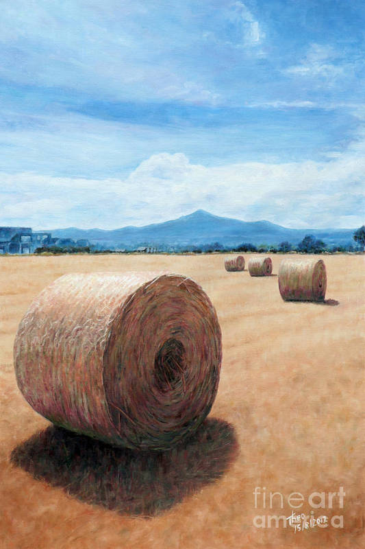Hay Bale Art Print featuring the painting The Haystack by Theo Michael