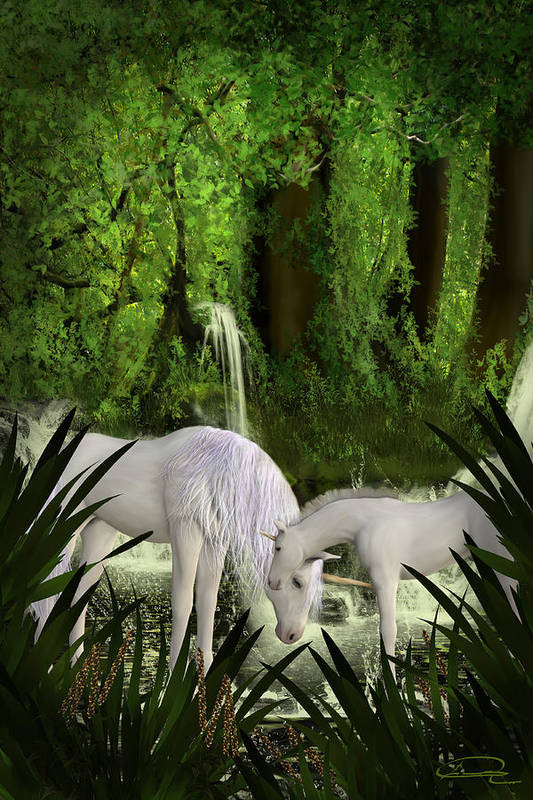 Unicorn Art Print featuring the painting The Lineage Of Unicorns by Emma Alvarez