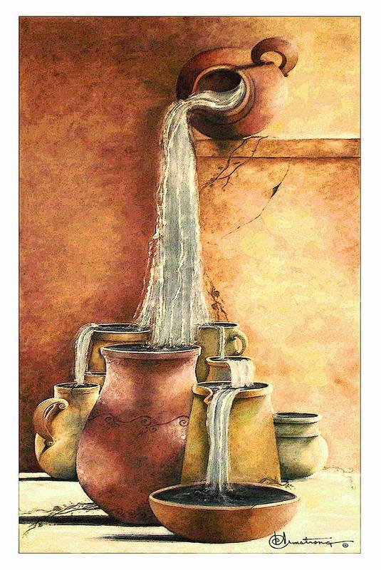 Pottery Art Print featuring the painting The Living Water by Denise Armstrong