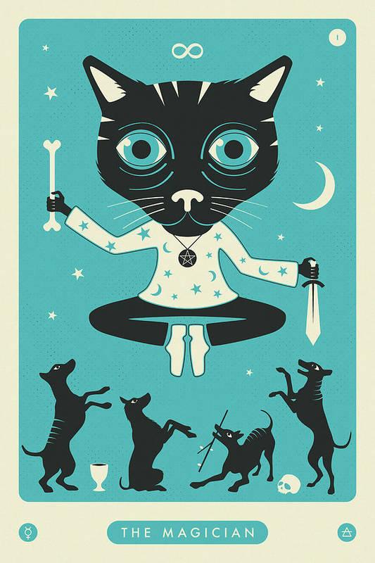 The Magician Tarot Card Cat Art Print