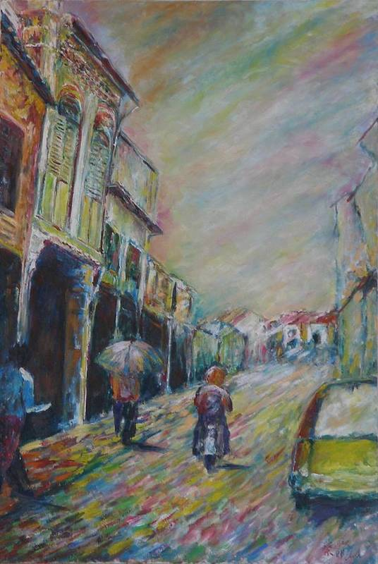 People Art Print featuring the painting The Malacca Street by Wendy Chua