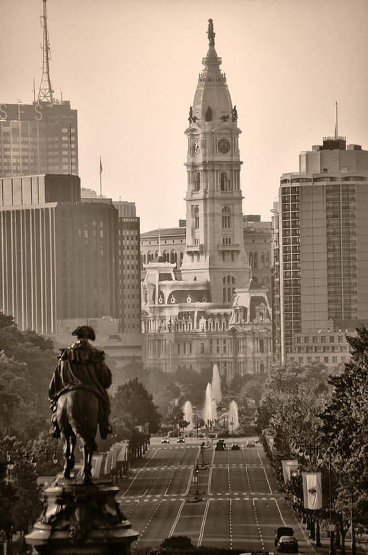 Benjamin Franklin Parkway Art Print featuring the photograph The Parkway In Sepia by Bill Cannon