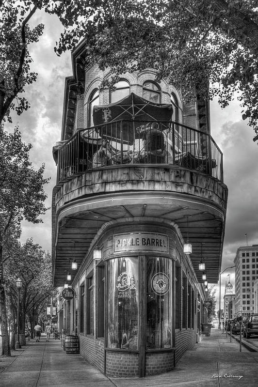 Eid Callaway The Pickle Barrel Art Print featuring the photograph The Pickle Barrel 3 B W Flatiron Architecture Chattanooga Tennessee Art by Reid Callaway