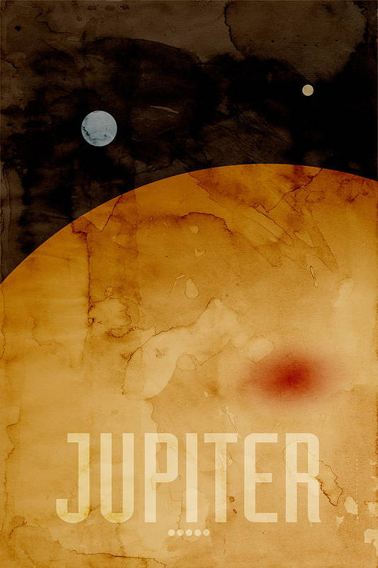 Jupiter Print featuring the digital art The Planet Jupiter by Michael Tompsett