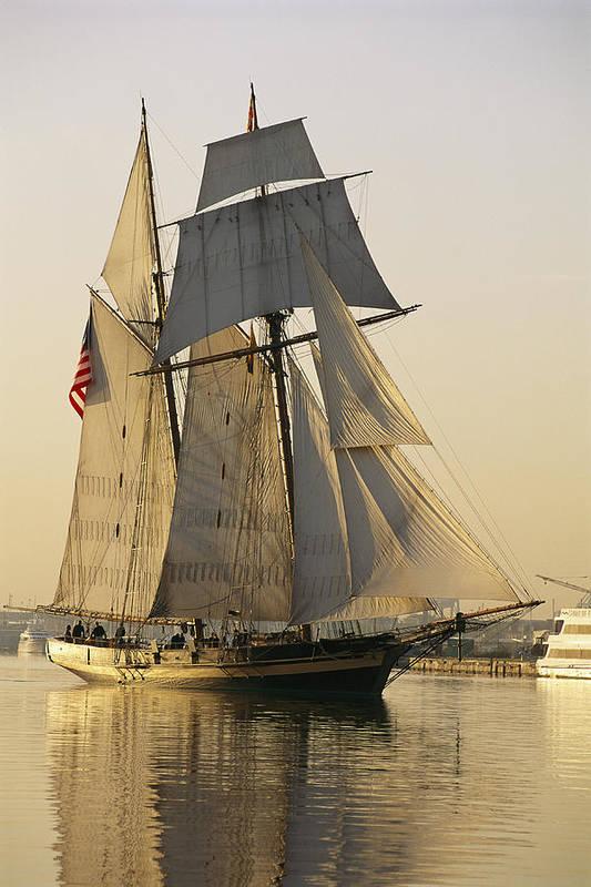 North America Print featuring the photograph The Pride Of Baltimore Clipper Ship by George Grall