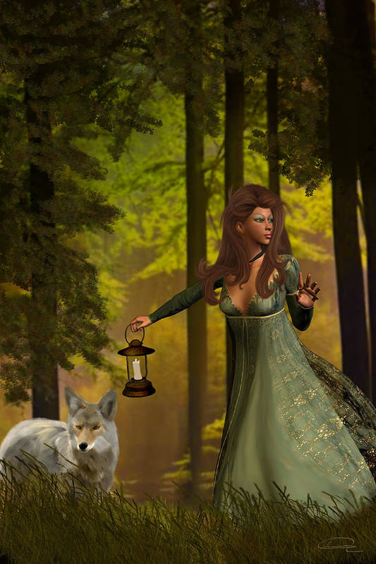 Princess Print featuring the painting The Princess And The Wolf by Emma Alvarez
