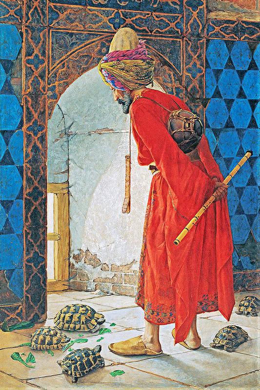 Osman Hamdi Bey Art Print featuring the painting The Tortoise Trainer by Munir Alawi