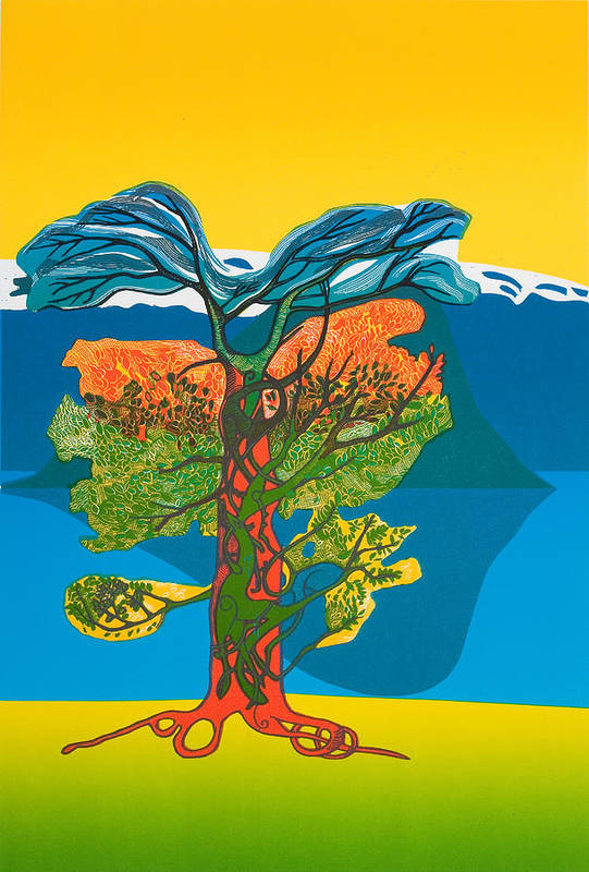 Landscape Art Print featuring the mixed media The Tree Of Life. From The Viking Saga. by Jarle Rosseland
