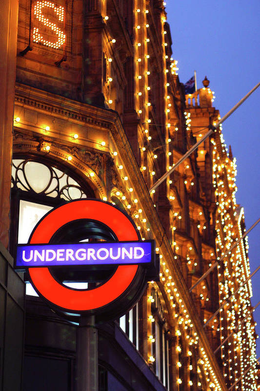 Harrods Art Print featuring the photograph The Underground And Harrods At Night by Heidi Hermes