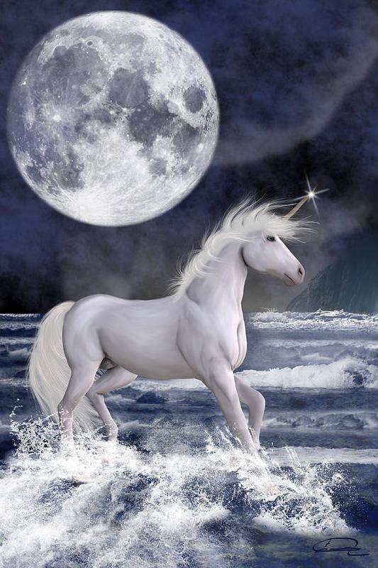 Unicorn Art Print featuring the painting The Unicorn Under The Moon by Emma Alvarez