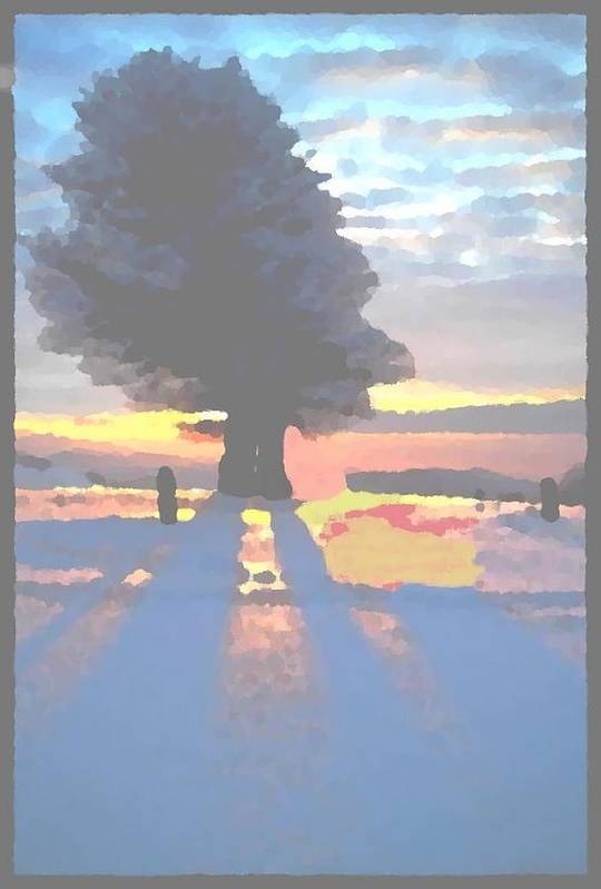 Sky.clouds.winter.sunset.snow.shadow.sunrays.evening Light.tree.far Forest. Art Print featuring the digital art The Winter Lonely Tree by Dr Loifer Vladimir