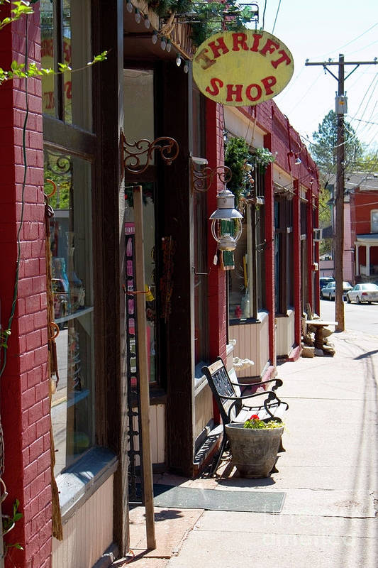 Thrift Store Art Print featuring the photograph Thrift Shop And Sign In Manitou Springs by Steve Krull