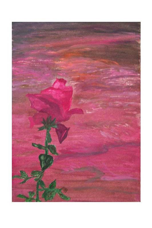 Rose Art Print featuring the painting Through Rose Colored Glasses by Ellie Swofford