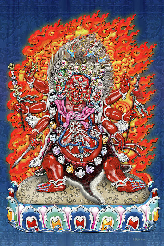 'treasures Of Tibet' Collection By Serge Averbukh Art Print featuring the digital art Tibetan Thangka - Wrathful Deity Hayagriva by Serge Averbukh