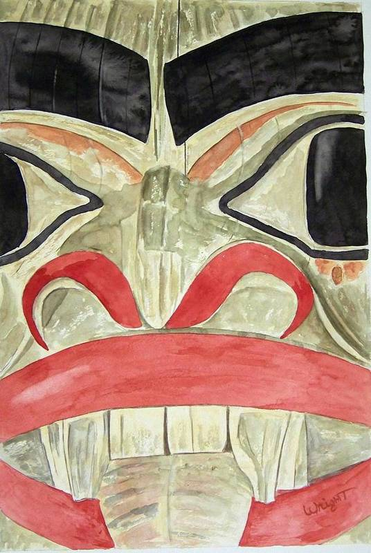 Indian Totem Art Print featuring the painting Tlingit Clan Beaver by Larry Wright