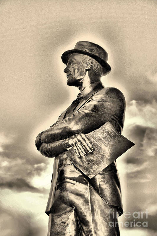 Dallas Cowboys Art Print featuring the photograph Tom Landry Sepia by Ione Starr