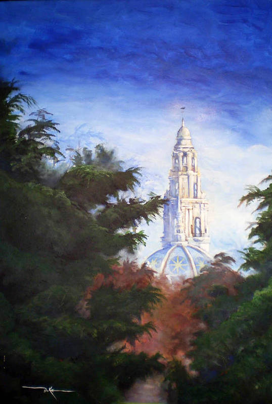 Balboa Park Art Print featuring the painting Tower Over The Grove II by Duke Windsor