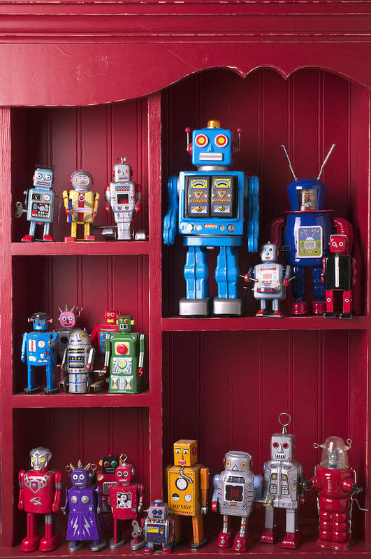 Toy Art Print featuring the photograph Toy Robots On Shelf by Garry Gay