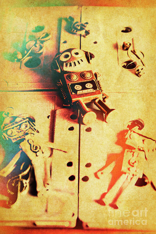 Retro Art Print featuring the photograph Toy Robots On Vintage Cassettes by Jorgo Photography - Wall Art Gallery
