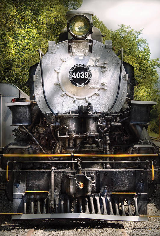 Savad Print featuring the photograph Train - Engine - 4039 American Locomotive Company by Mike Savad