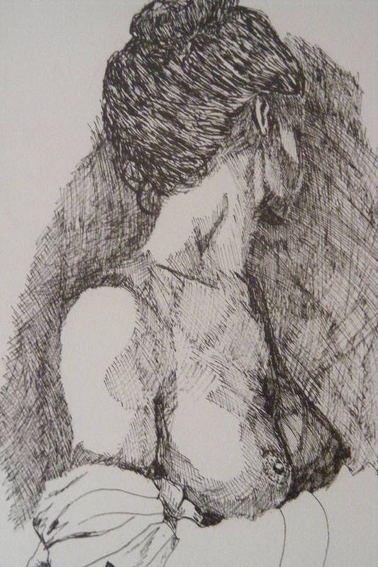 Female Form Art Print featuring the drawing Tranquility by Donald Dean