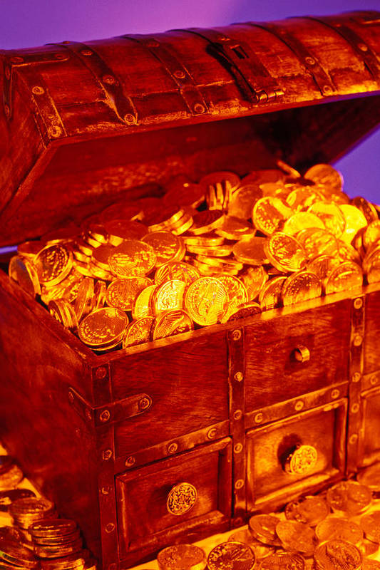 Treasure Chest Gold Coins Pirates Art Print featuring the photograph Treasure Chest With Gold Coins by Garry Gay