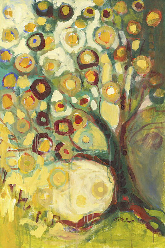 Tree Life Abstract Modern Circles Contemporary Nature Art Print featuring the painting Tree Of Life In Autumn by Jennifer Lommers