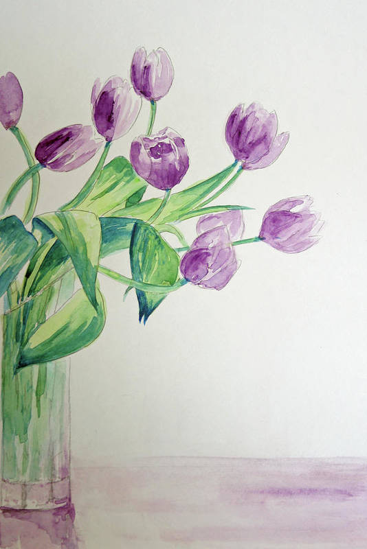 Flowers Art Print featuring the painting Tulips In Purple by Julie Lueders