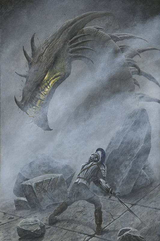 Turin Turambar Confronts Glaurung at the Ruin of Nargothrond by Kip Rasmussen
