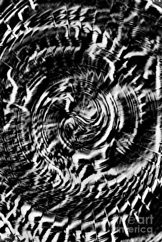 Black Art Print featuring the digital art Twisted Gears Abstract by Debra Lynch