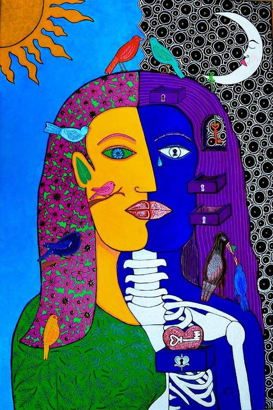 Faces Art Print featuring the painting Two Faces by YOLARTE Yolanda Ortiz