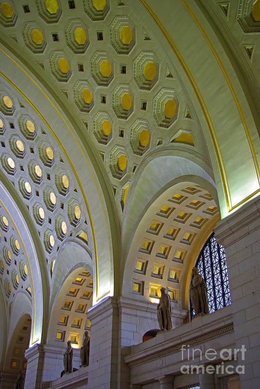 Washington Dc Art Print featuring the photograph Union Station Ceiling by Rich Walter