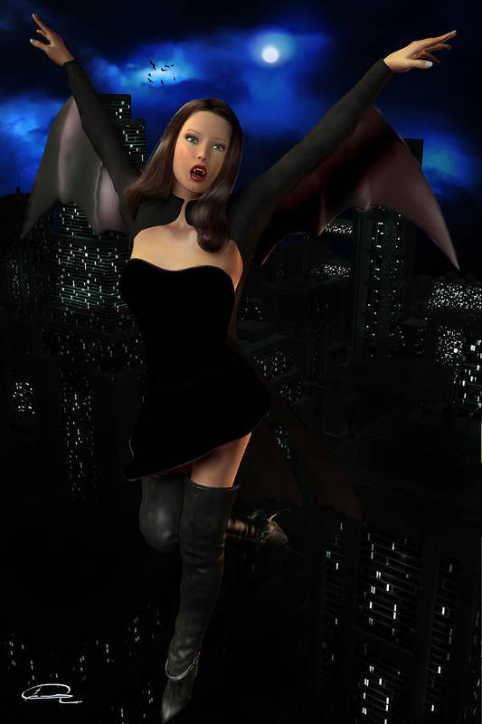 Vampire Art Print featuring the painting Vampiress In The Metropolis by Emma Alvarez
