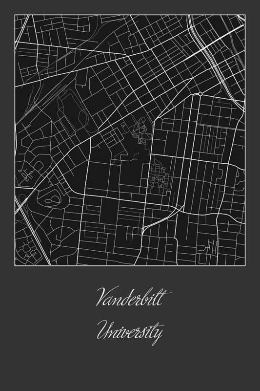 Vanderbilt Street Map - Vanderbilt University Nashville Map Art ...